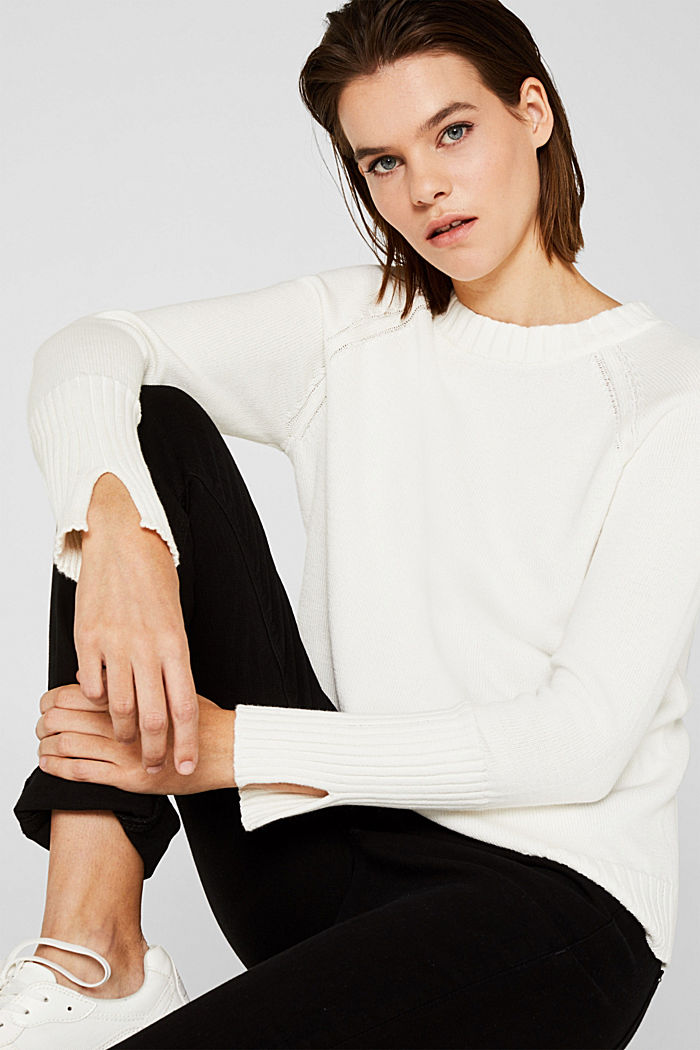 Jumper with ribbed borders, 100% cotton, OFF WHITE, detail image number 0