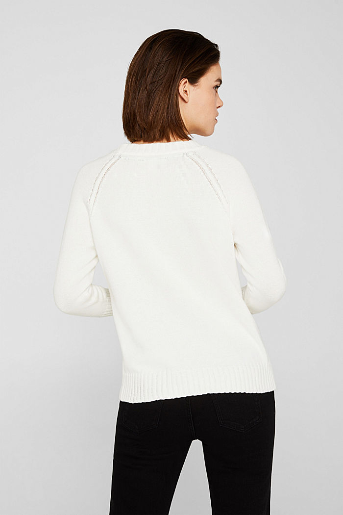 Jumper with ribbed borders, 100% cotton, OFF WHITE, detail image number 3