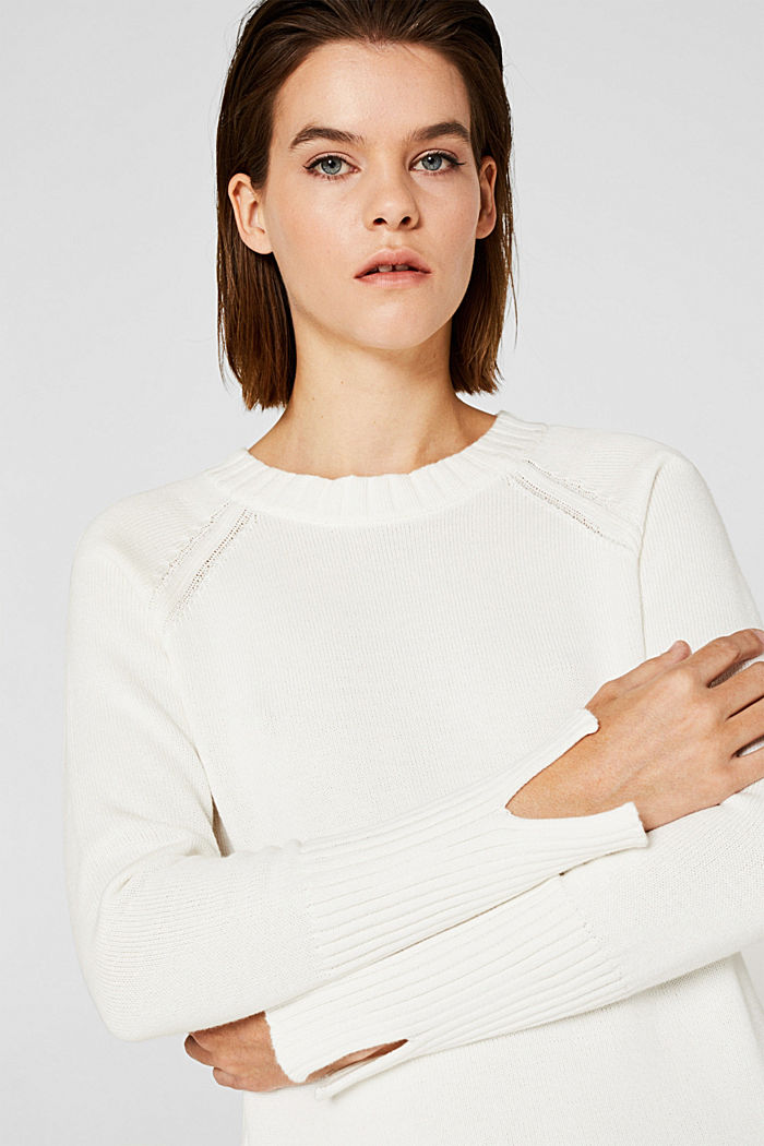 Jumper with ribbed borders, 100% cotton, OFF WHITE, detail image number 5
