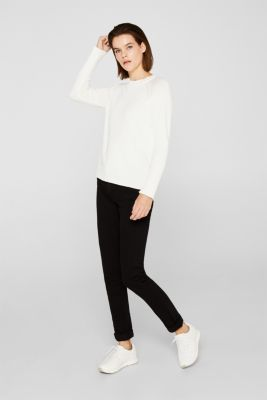 Jumper with ribbed borders, 100% cotton, OFF WHITE, detail