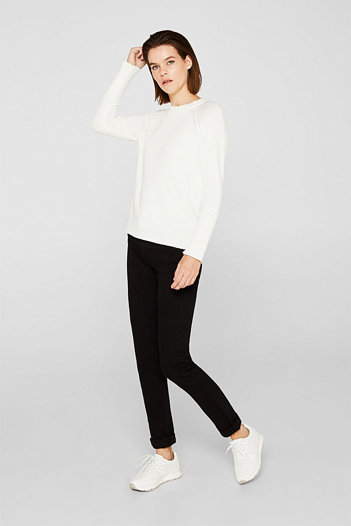 Jumper with ribbed borders, 100% cotton, OFF WHITE, detail image number 1