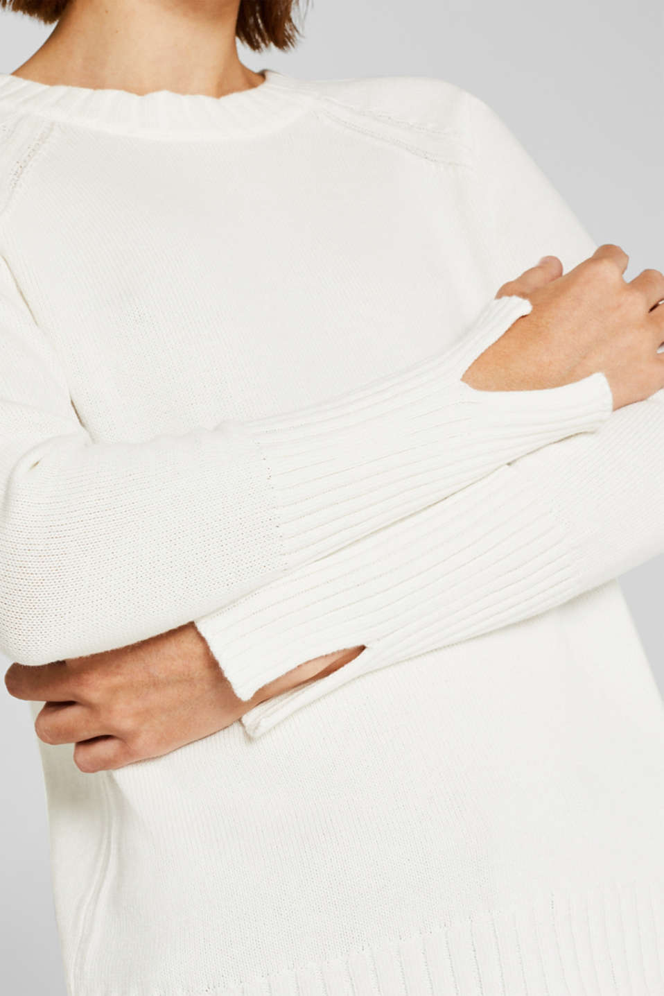 Jumper with ribbed borders, 100% cotton, OFF WHITE, detail image number 2