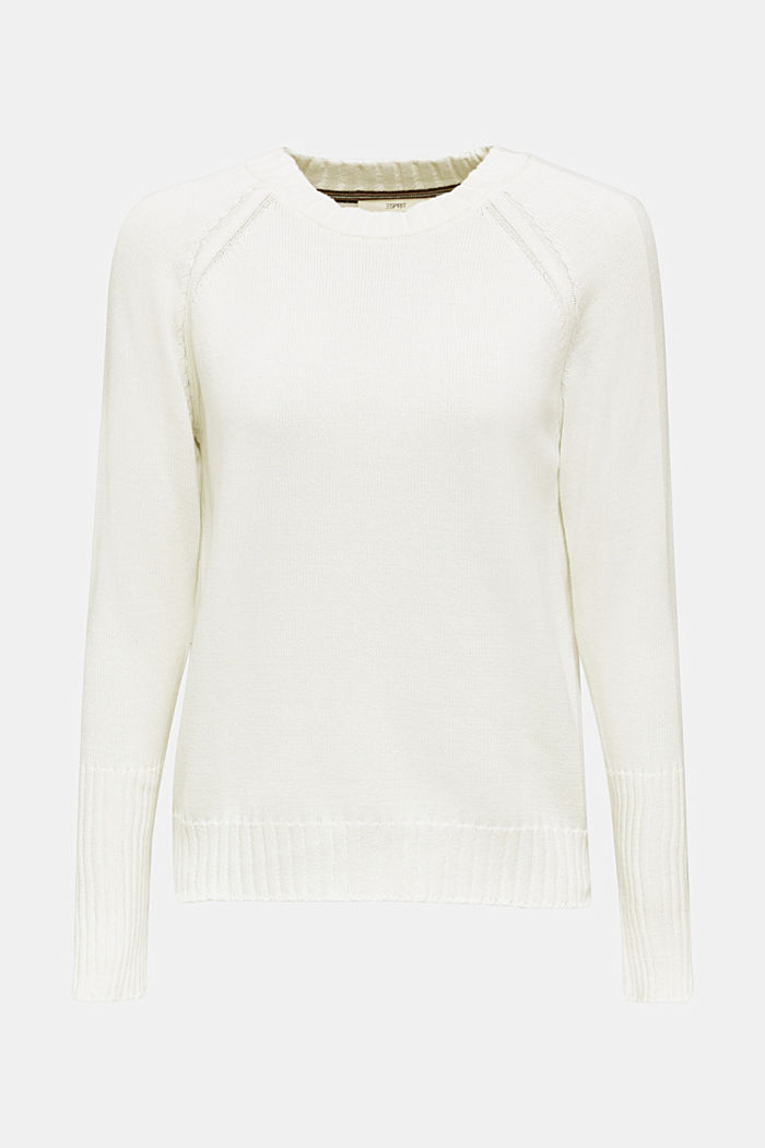 Jumper with ribbed borders, 100% cotton, OFF WHITE, detail image number 6