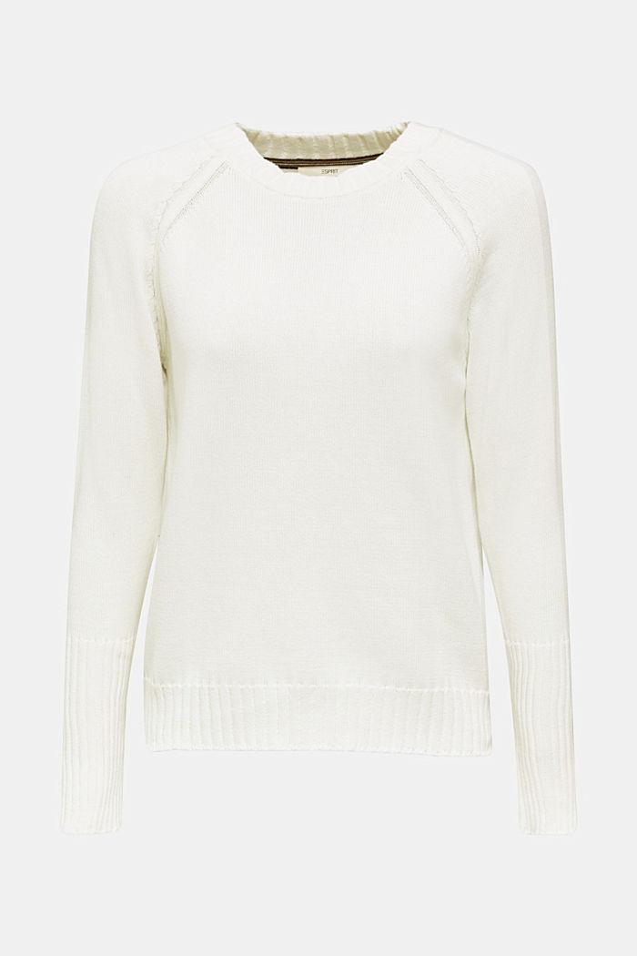 Pullover mit Ripp-Bündchen, 100% Baumwolle, OFF WHITE, detail image number 0