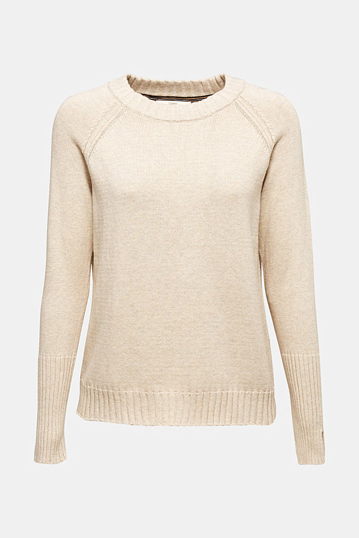 Jumper with ribbed borders, 100% cotton, LIGHT BEIGE 5, detail image number 0
