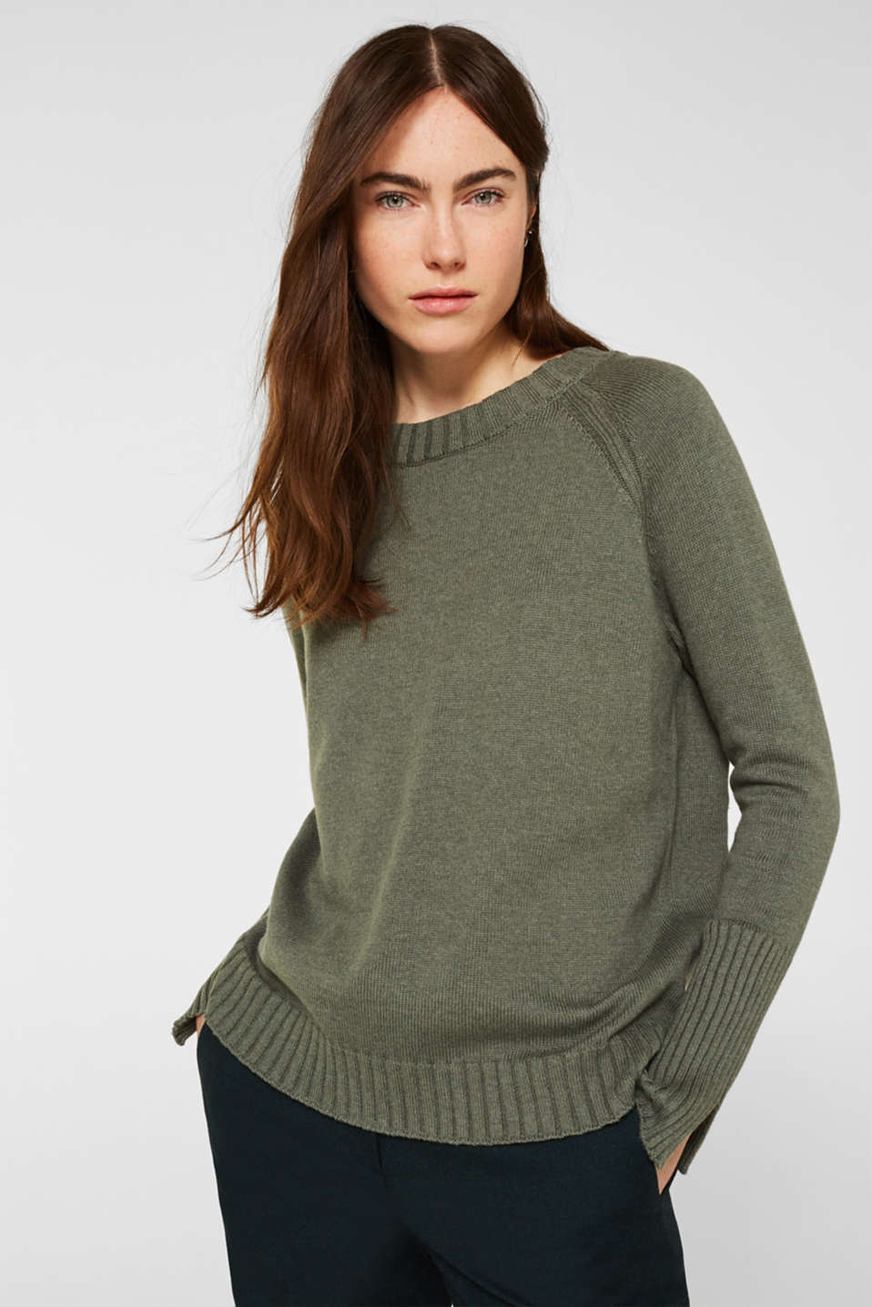 Jumper with ribbed borders, 100% cotton, KHAKI GREEN 5, detail image number 0