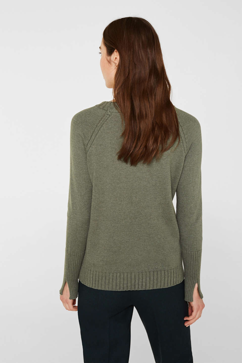 Jumper with ribbed borders, 100% cotton, KHAKI GREEN 5, detail image number 3