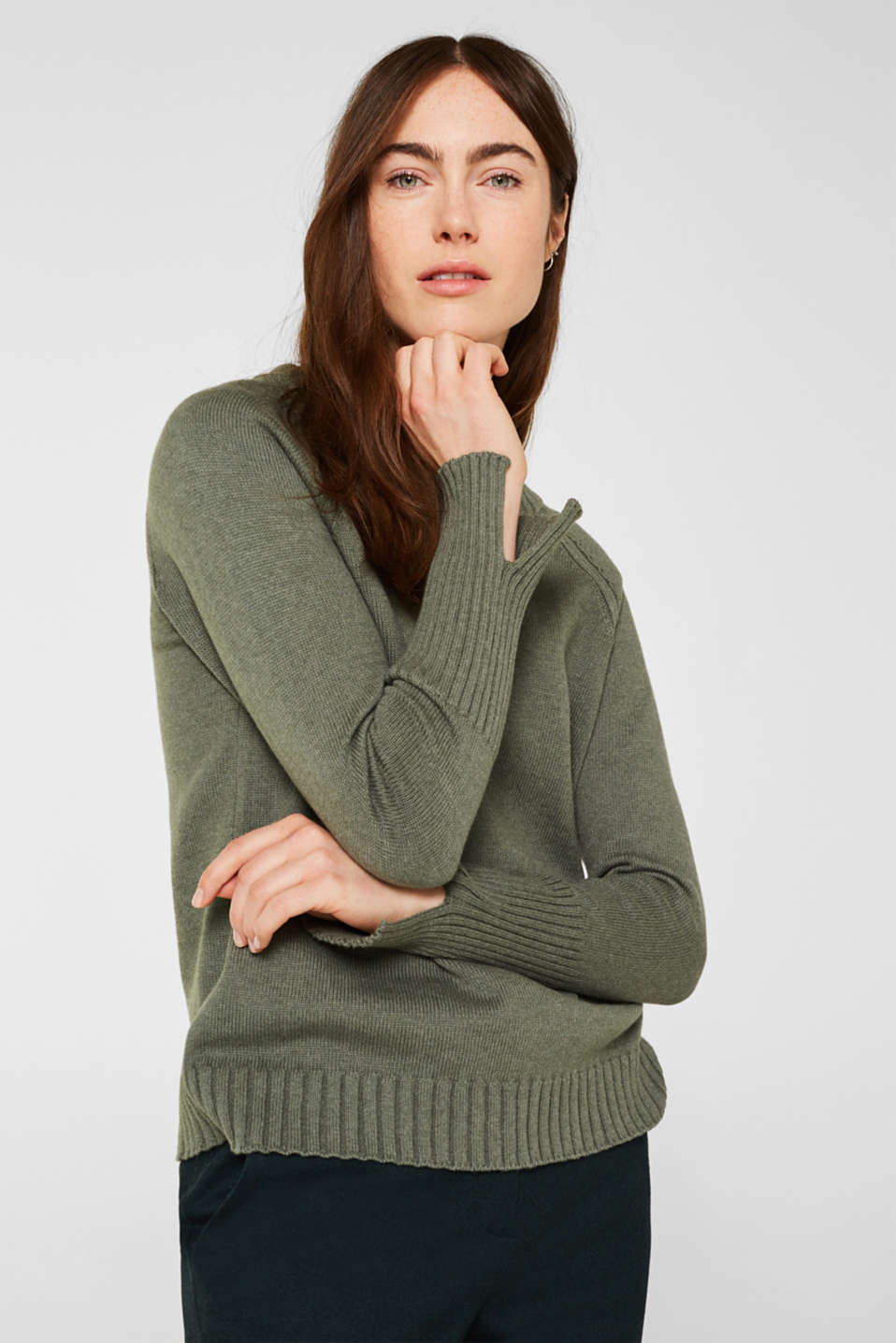 Jumper with ribbed borders, 100% cotton, KHAKI GREEN 5, detail image number 6