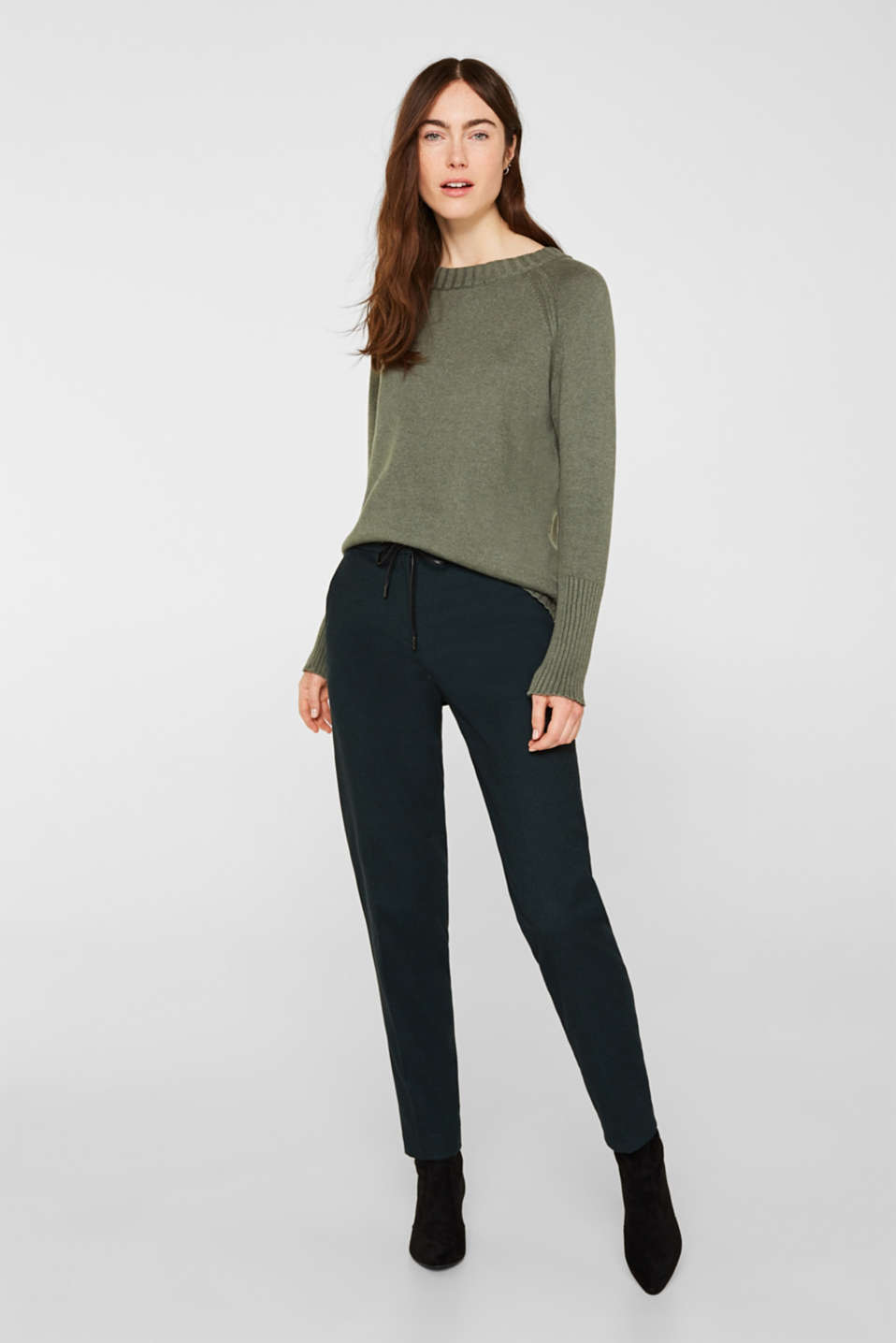 Jumper with ribbed borders, 100% cotton, KHAKI GREEN 5, detail image number 1