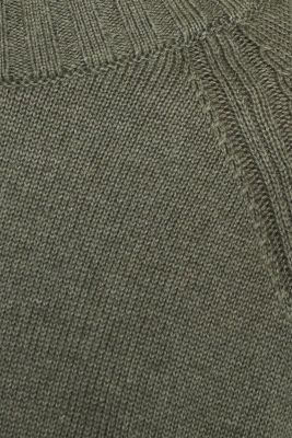 Jumper with ribbed borders, 100% cotton, KHAKI GREEN 5, detail
