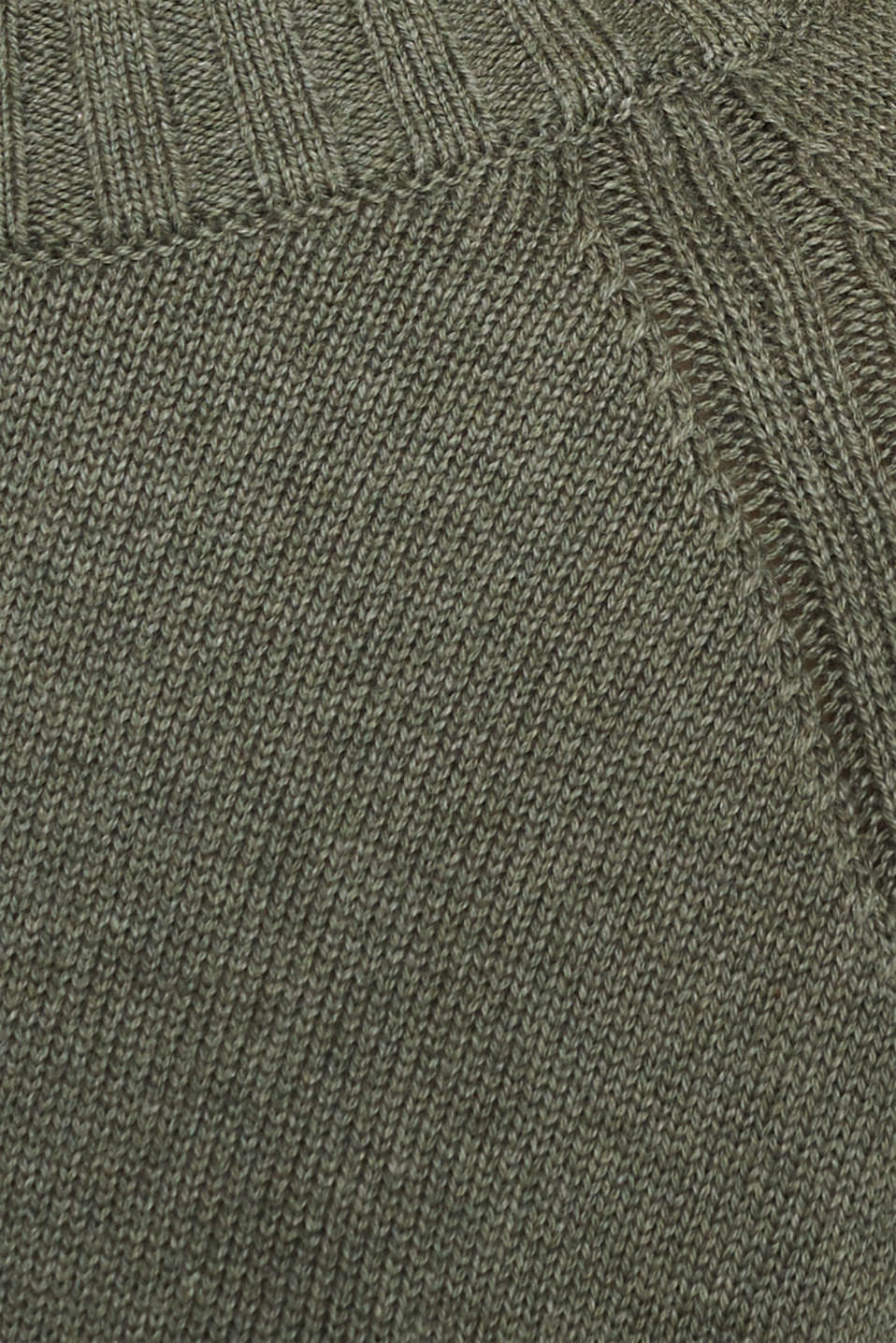 Jumper with ribbed borders, 100% cotton, KHAKI GREEN 5, detail image number 4