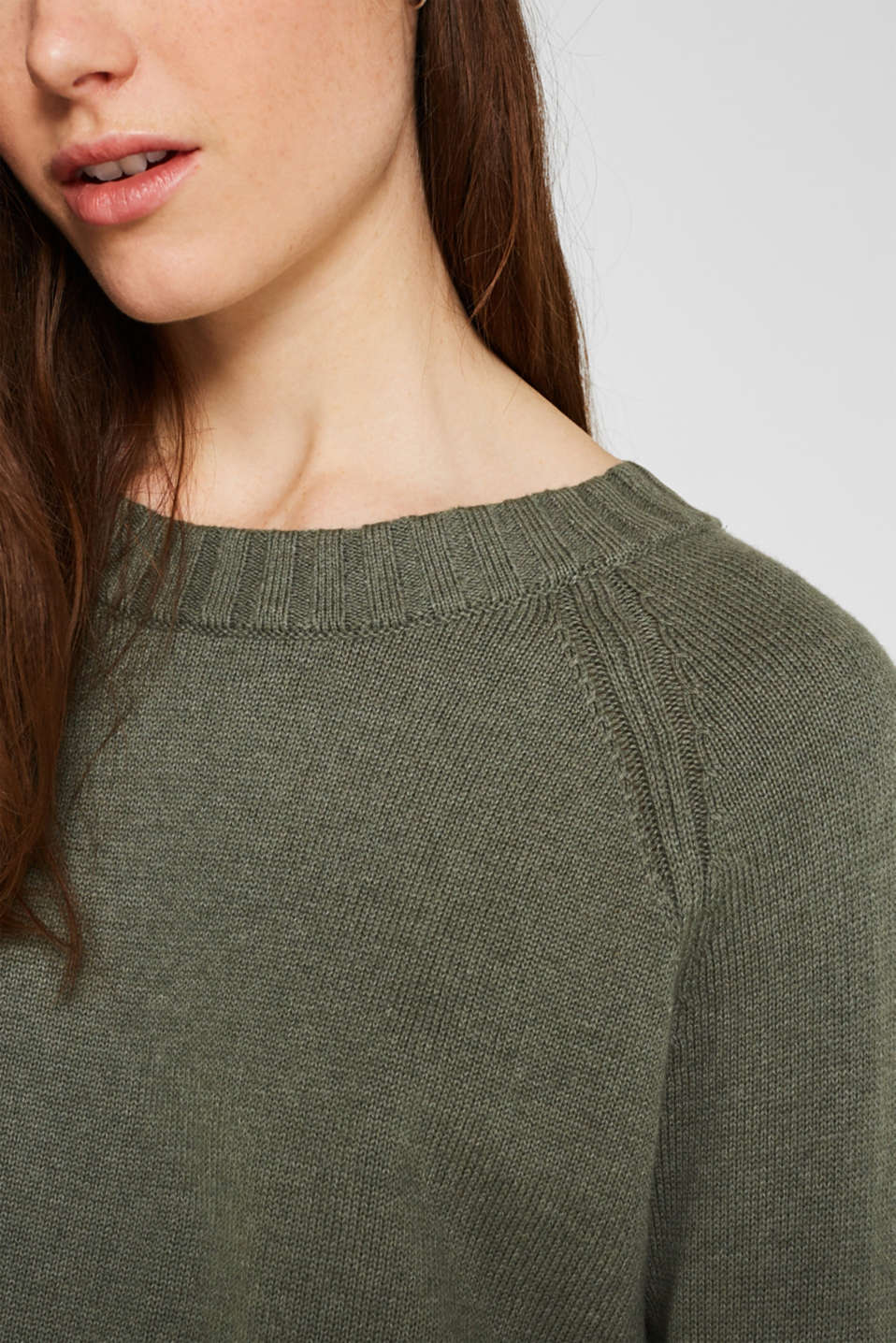 Jumper with ribbed borders, 100% cotton, KHAKI GREEN 5, detail image number 5