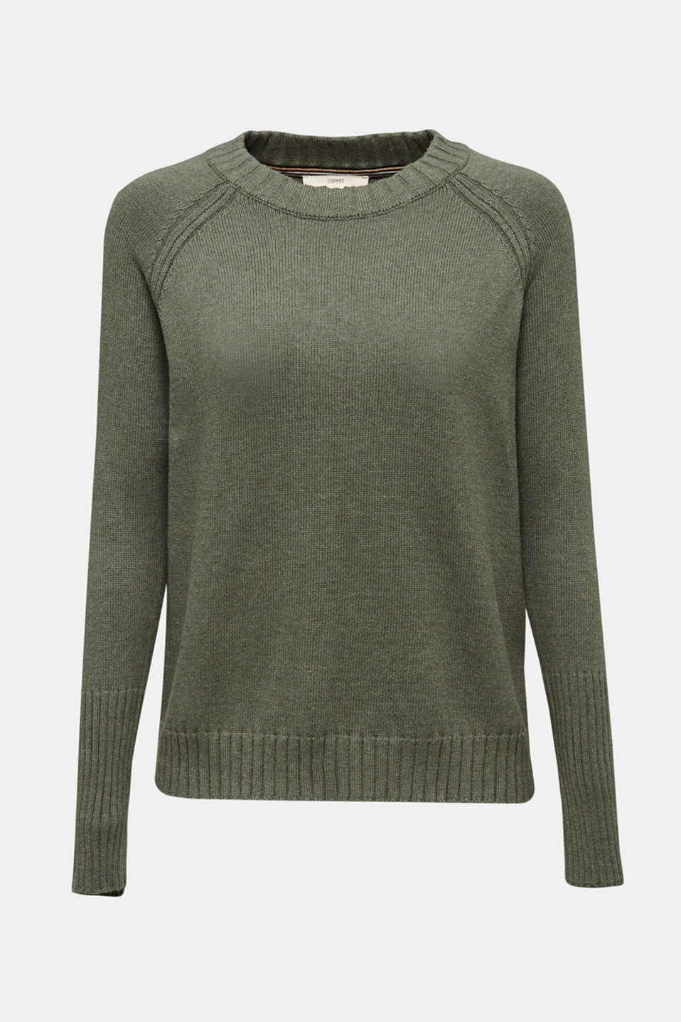 Jumper with ribbed borders, 100% cotton, KHAKI GREEN 5, detail image number 7