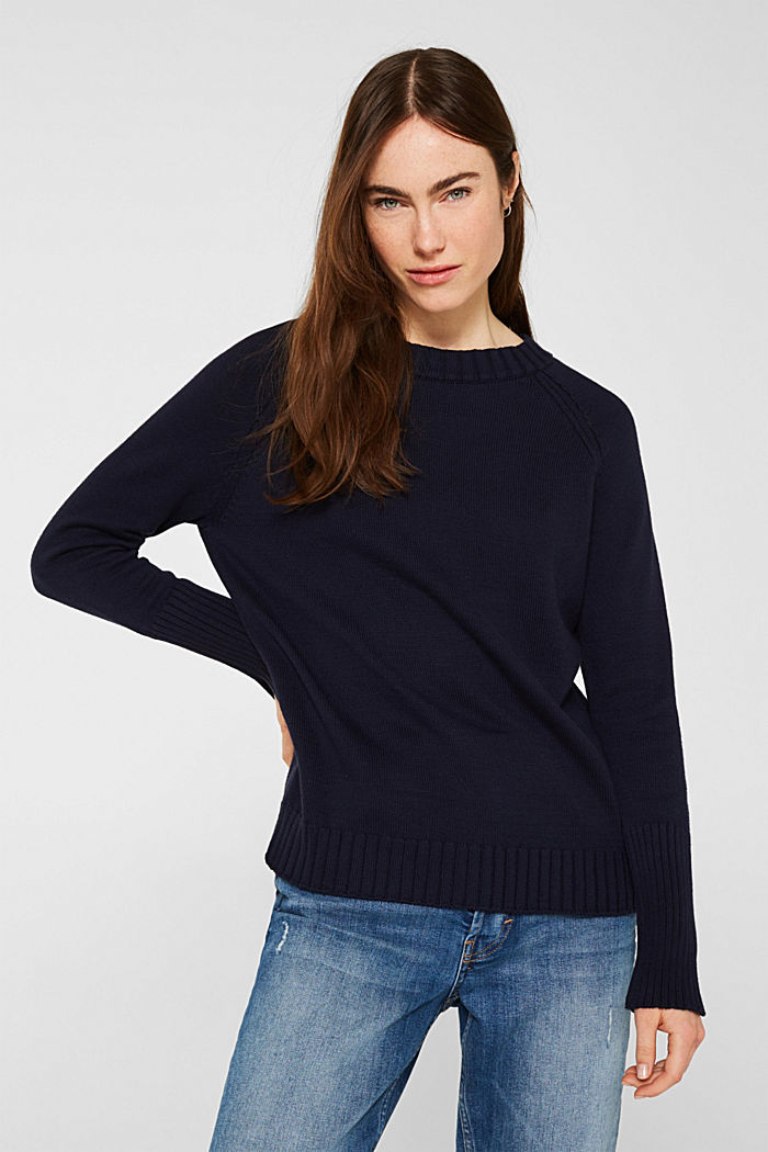 Jumper with ribbed borders, 100% cotton, NAVY, detail image number 0