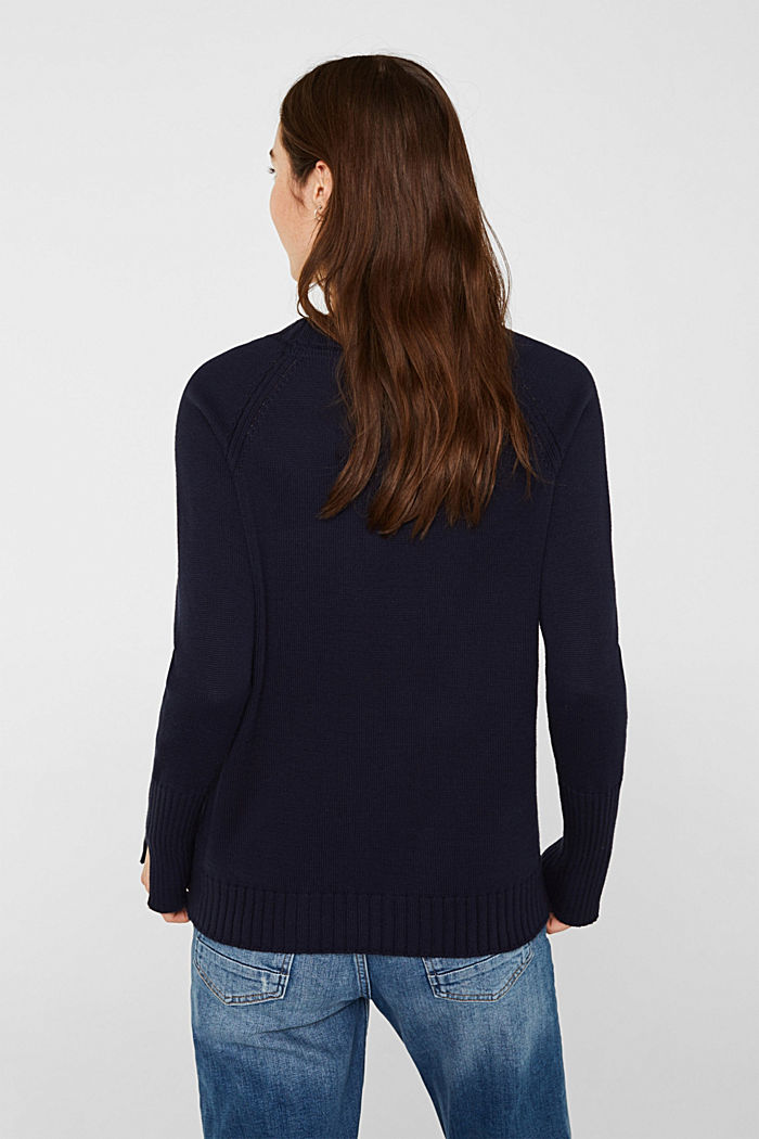 Jumper with ribbed borders, 100% cotton, NAVY, detail image number 3