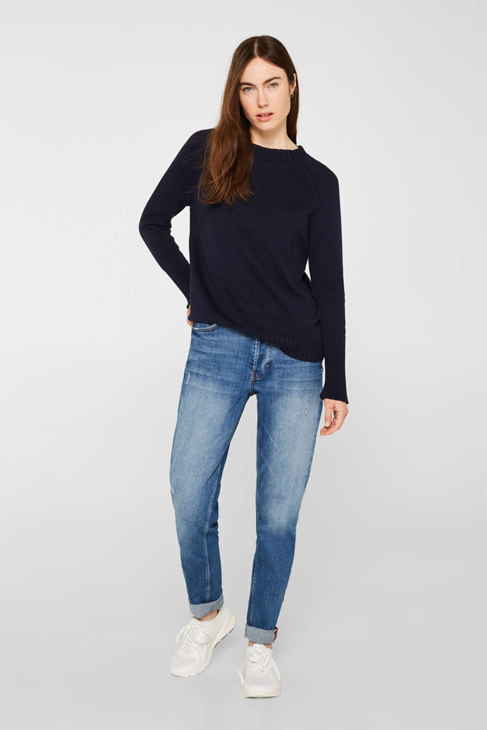 Jumper with ribbed borders, 100% cotton, NAVY, detail image number 1