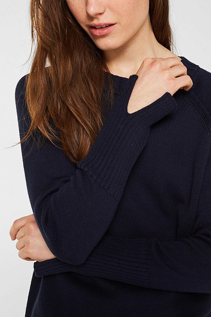 Pullover mit Ripp-Bündchen, 100% Baumwolle, NAVY, detail image number 2
