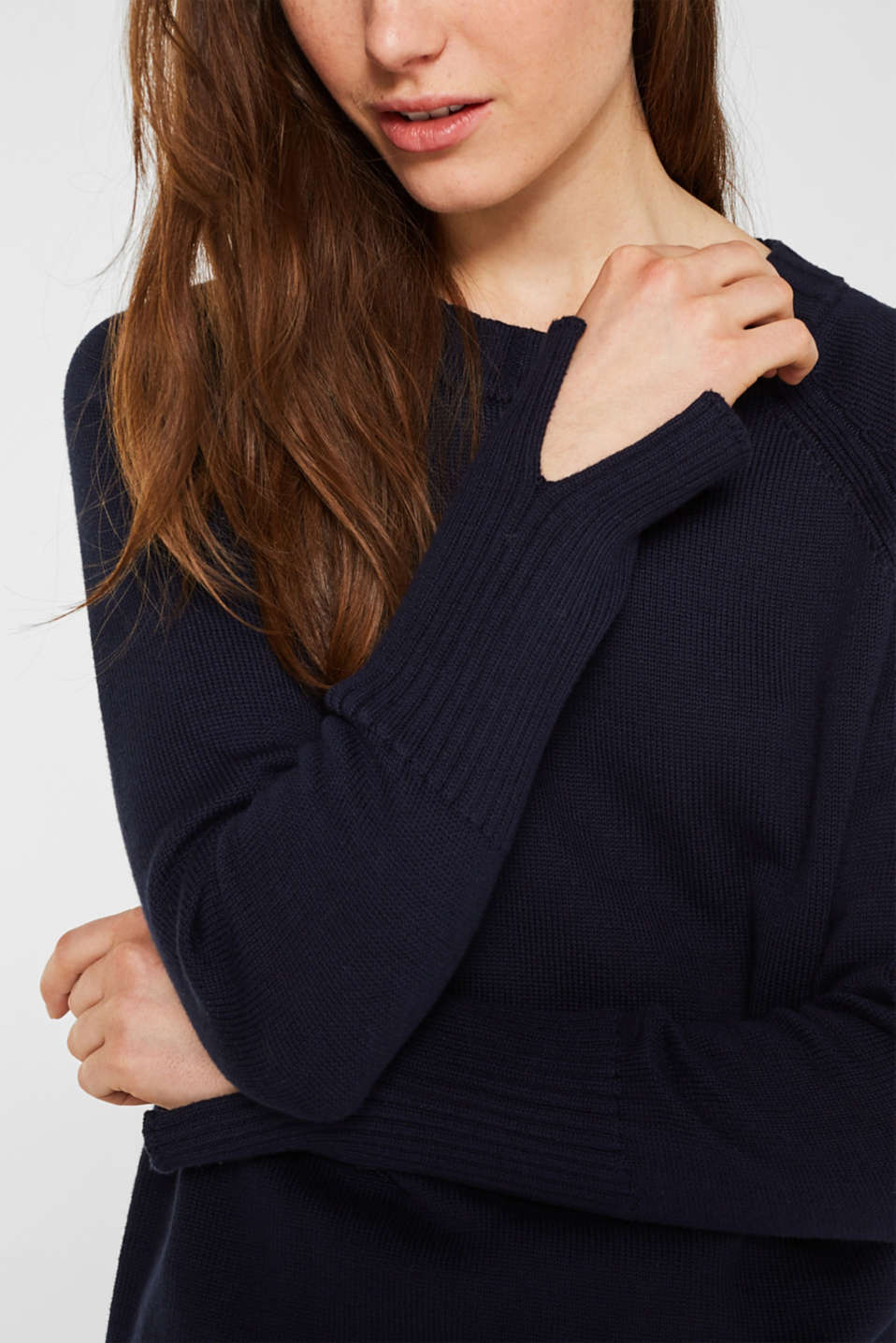 Jumper with ribbed borders, 100% cotton, NAVY, detail image number 2