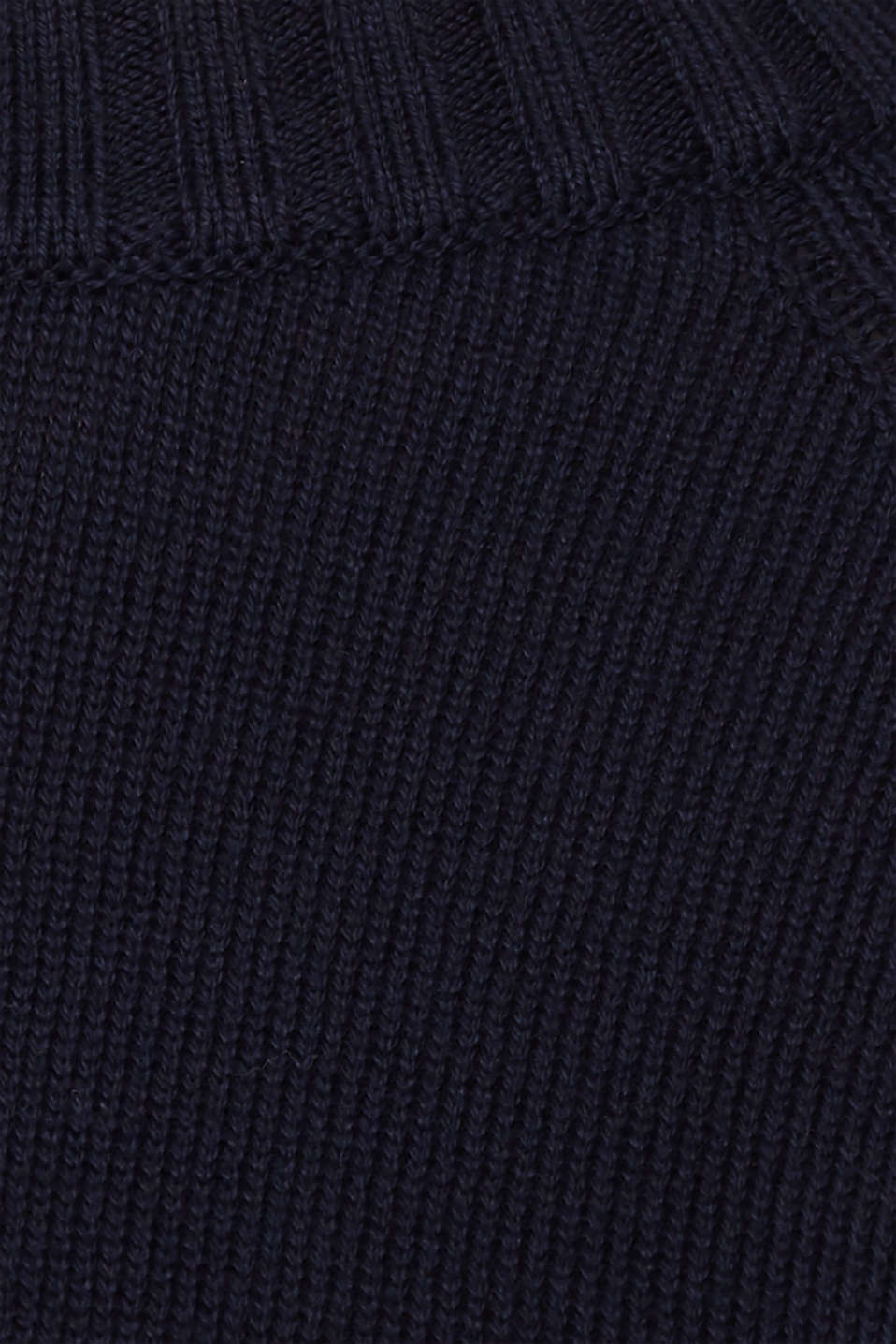 Jumper with ribbed borders, 100% cotton, NAVY, detail image number 4