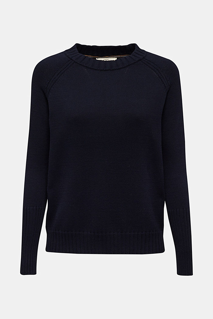 Jumper with ribbed borders, 100% cotton, NAVY, overview