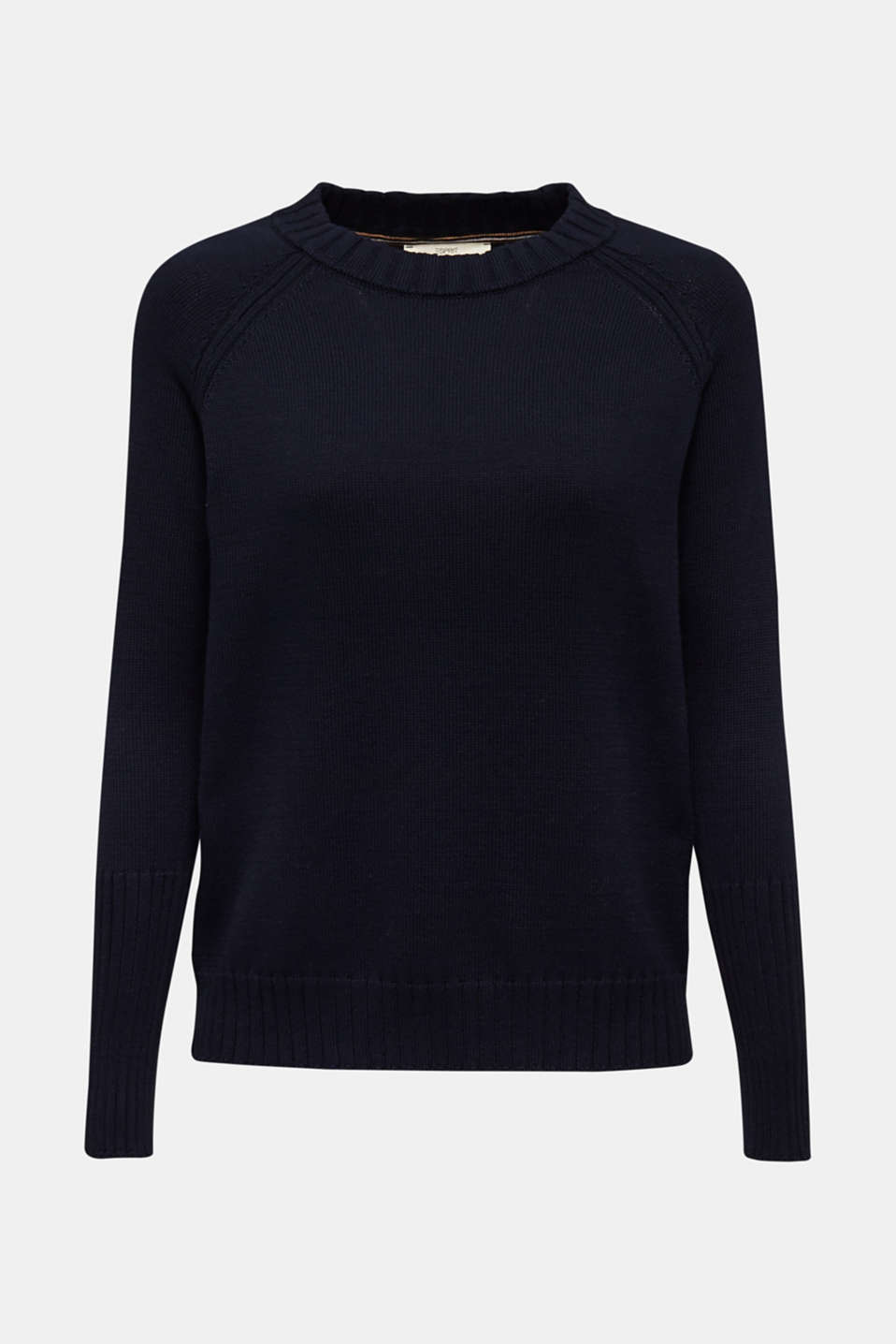 Jumper with ribbed borders, 100% cotton, NAVY, detail image number 6