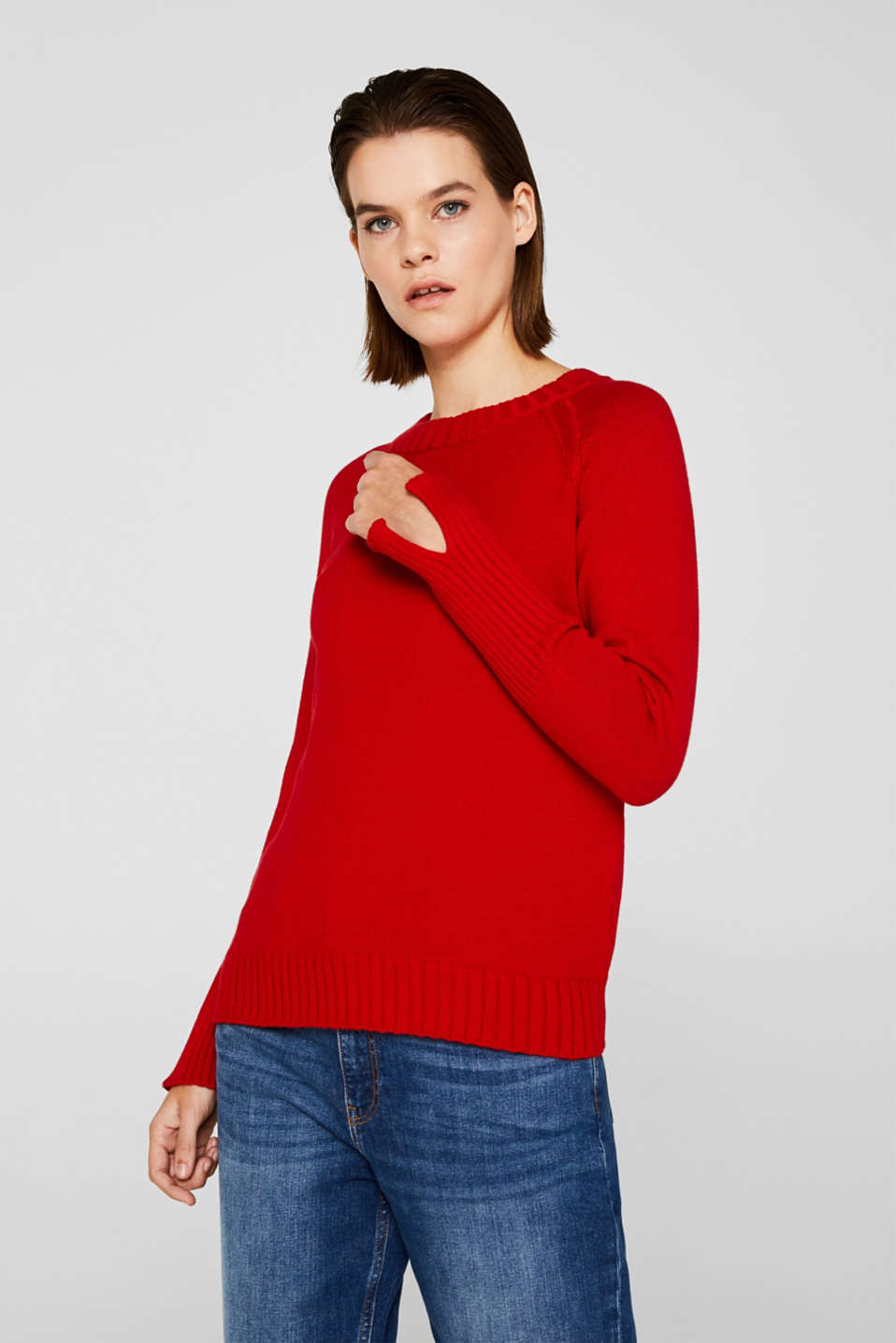 Jumper with ribbed borders, 100% cotton, DARK RED, detail image number 0