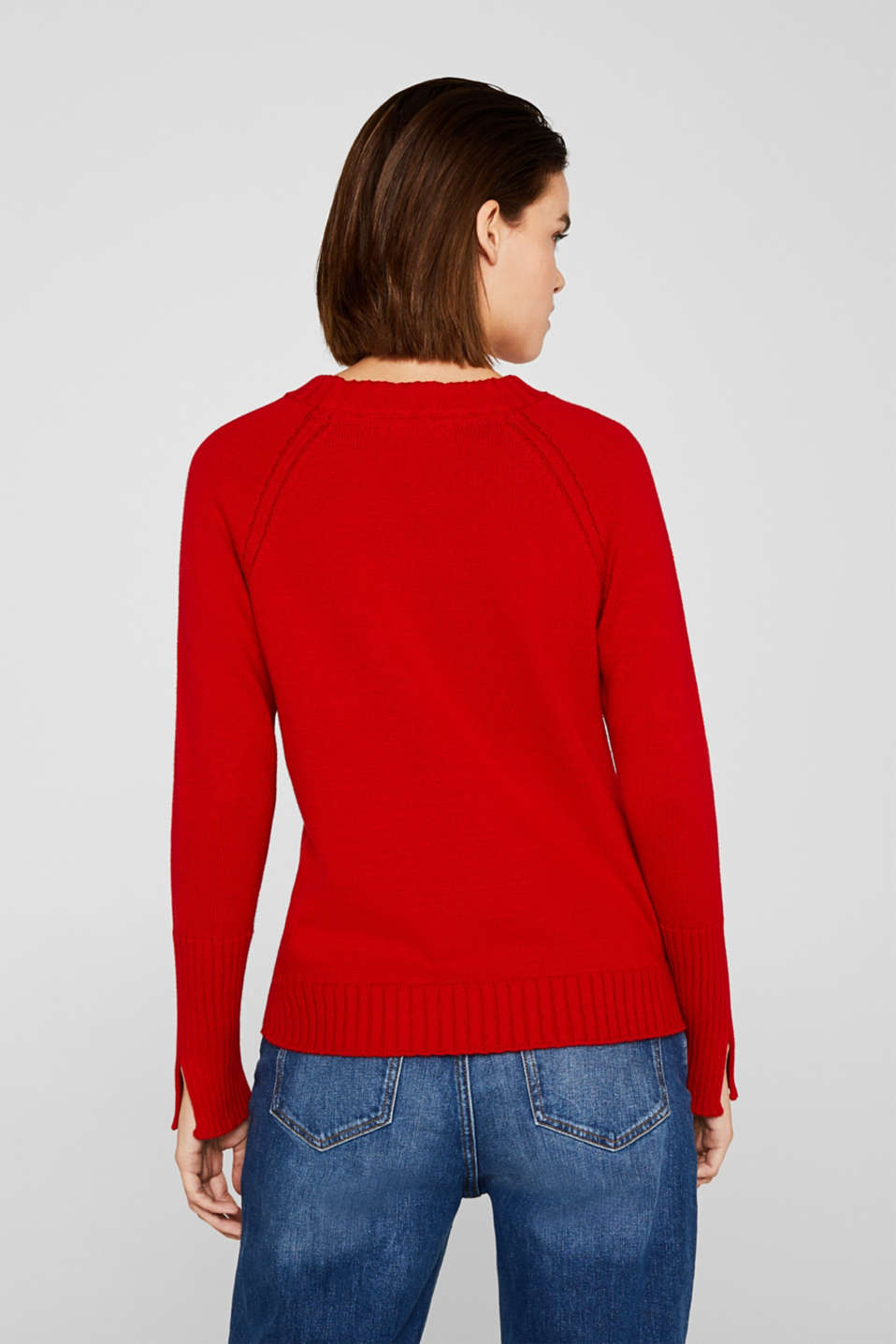 Jumper with ribbed borders, 100% cotton, DARK RED, detail image number 3