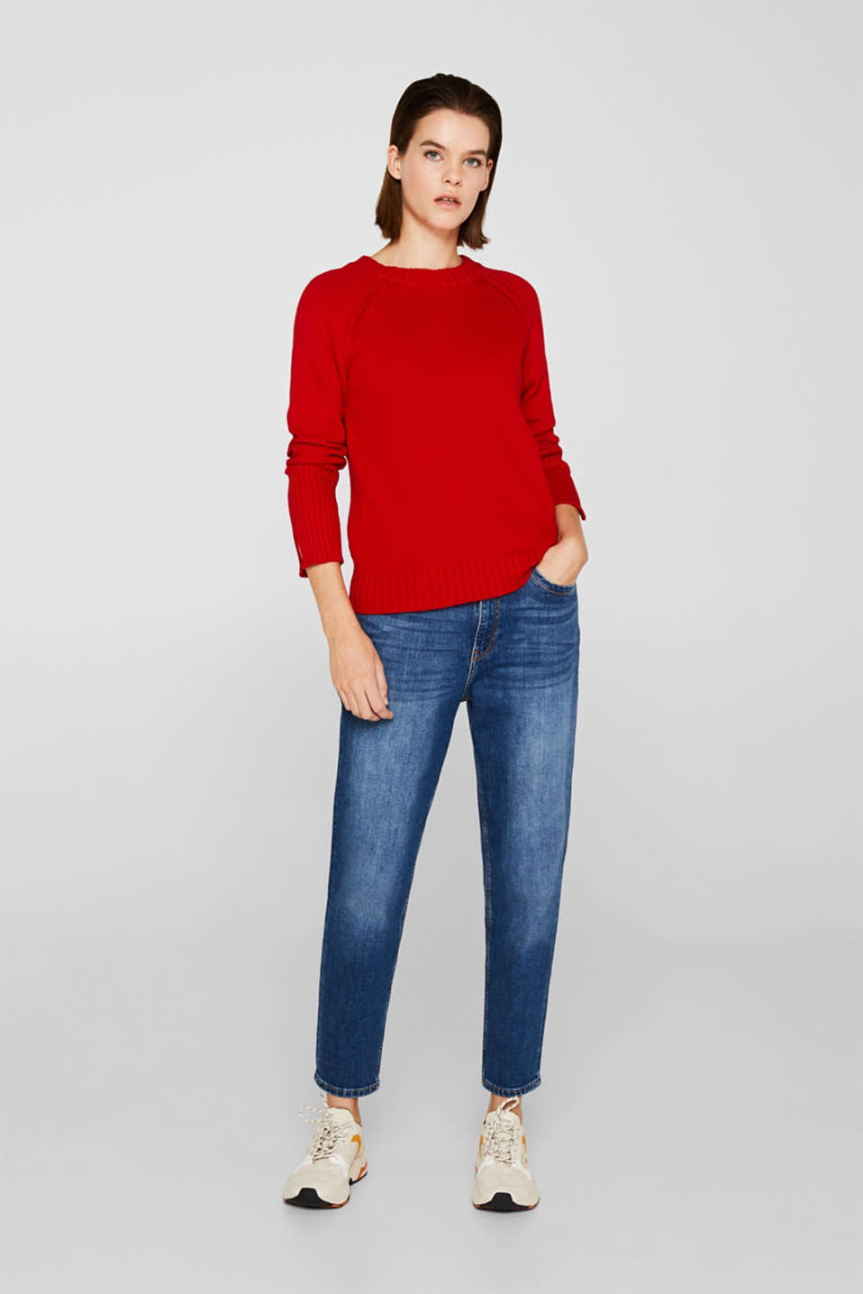 Jumper with ribbed borders, 100% cotton, DARK RED, detail image number 5