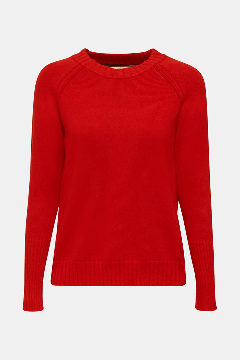Jumper with ribbed borders, 100% cotton, DARK RED, detail image number 6