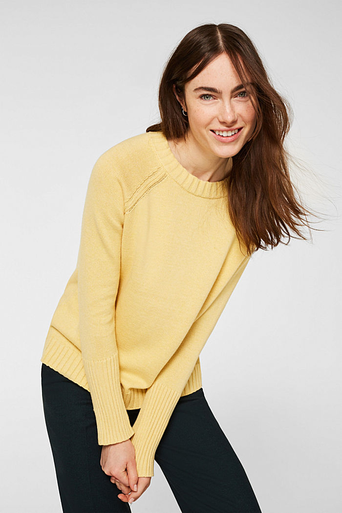 Jumper with ribbed borders, 100% cotton, DUSTY YELLOW, detail image number 0
