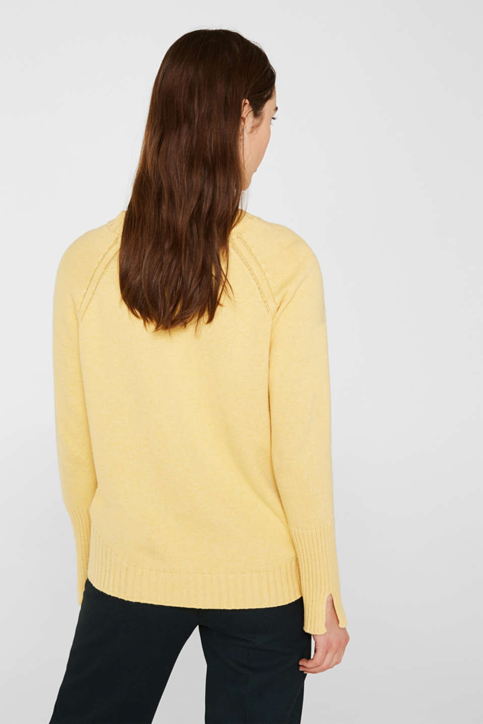 Jumper with ribbed borders, 100% cotton, DUSTY YELLOW 5, detail image number 3