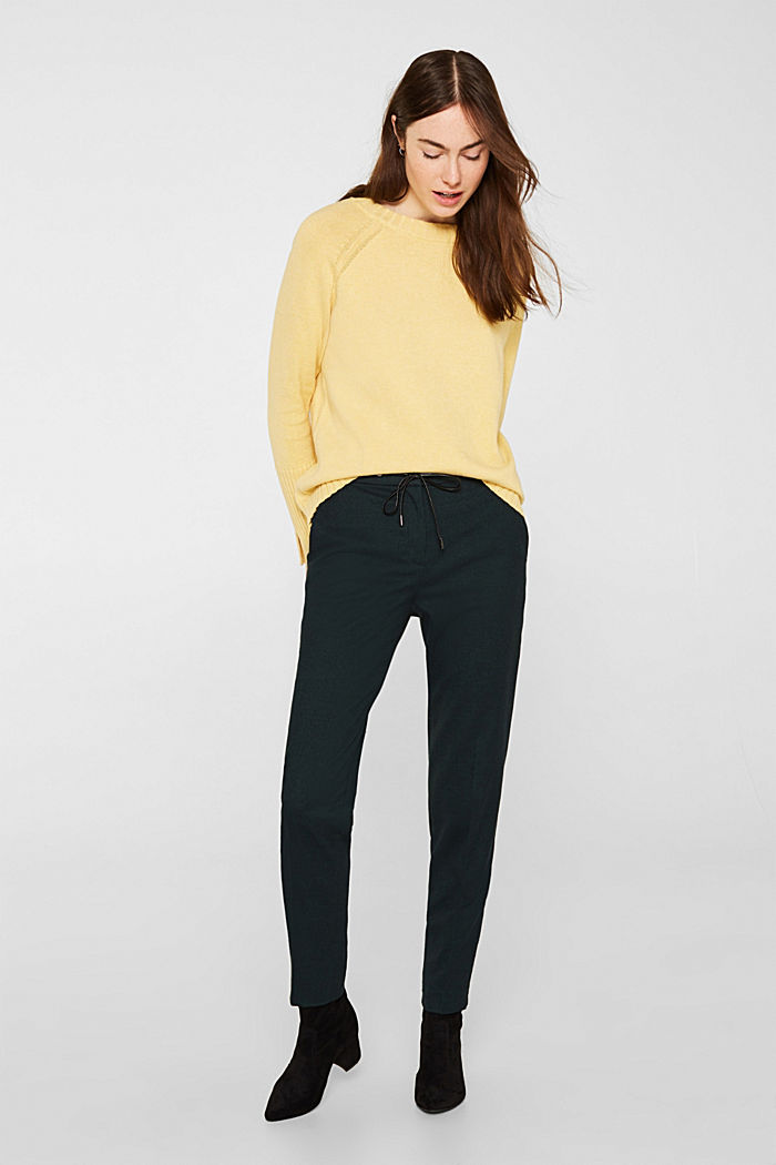 Jumper with ribbed borders, 100% cotton, DUSTY YELLOW, detail image number 1