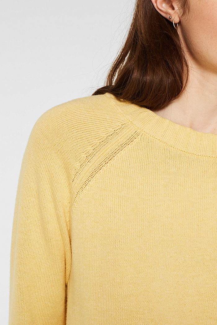 Jumper with ribbed borders, 100% cotton, DUSTY YELLOW, detail image number 2