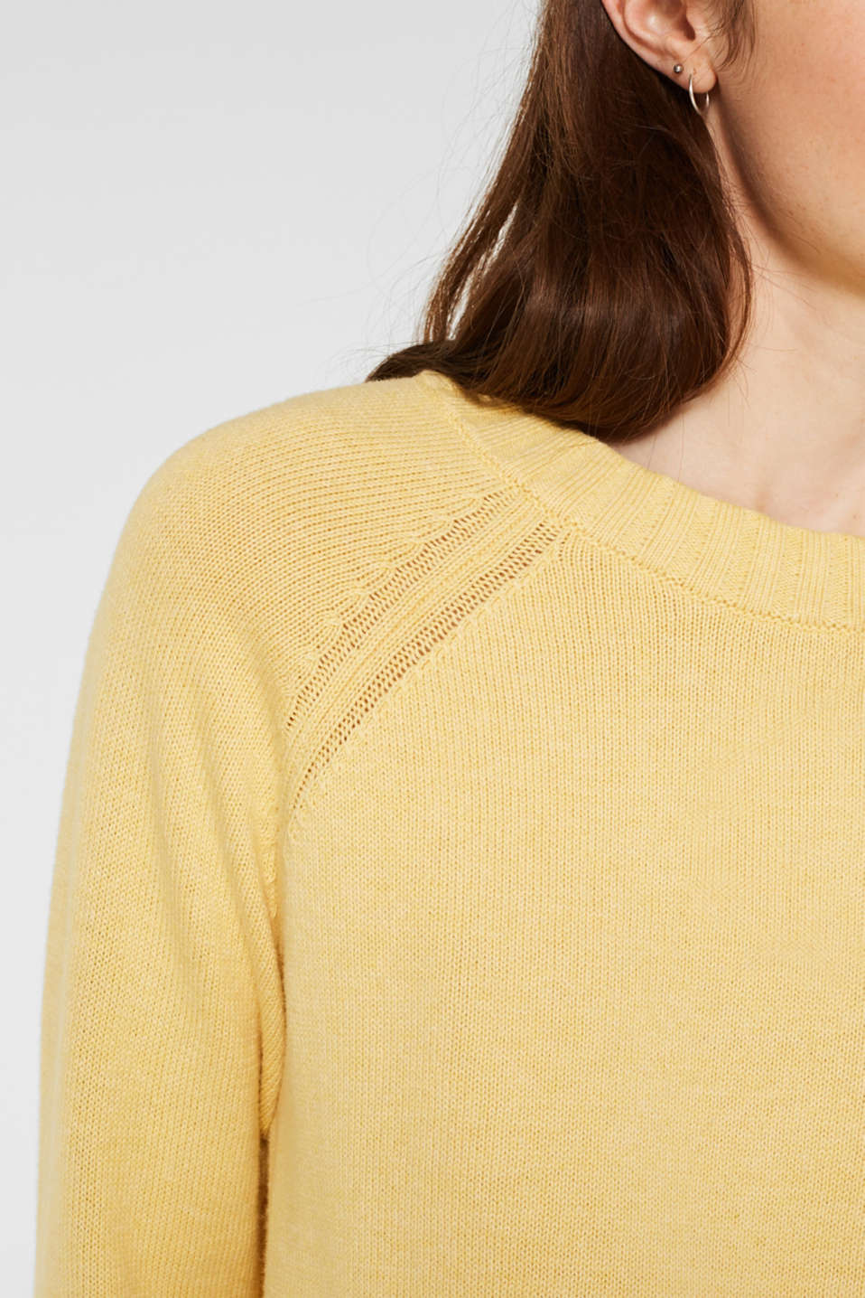 Jumper with ribbed borders, 100% cotton, DUSTY YELLOW 5, detail image number 2