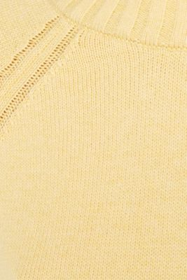 Jumper with ribbed borders, 100% cotton, DUSTY YELLOW 5, detail