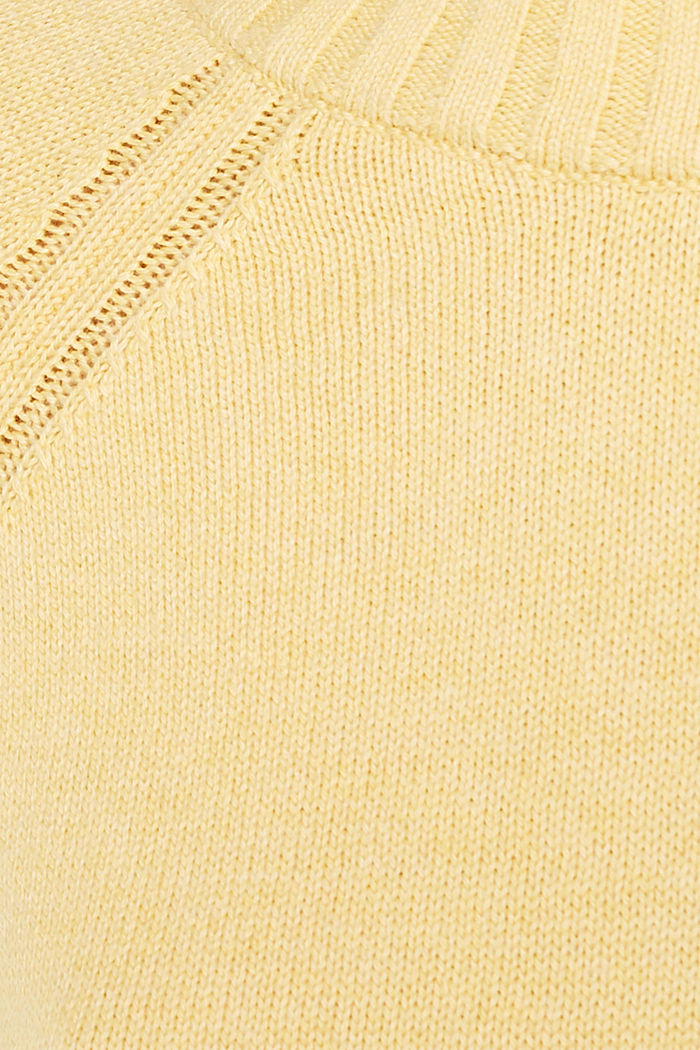 Jumper with ribbed borders, 100% cotton, DUSTY YELLOW, detail image number 4