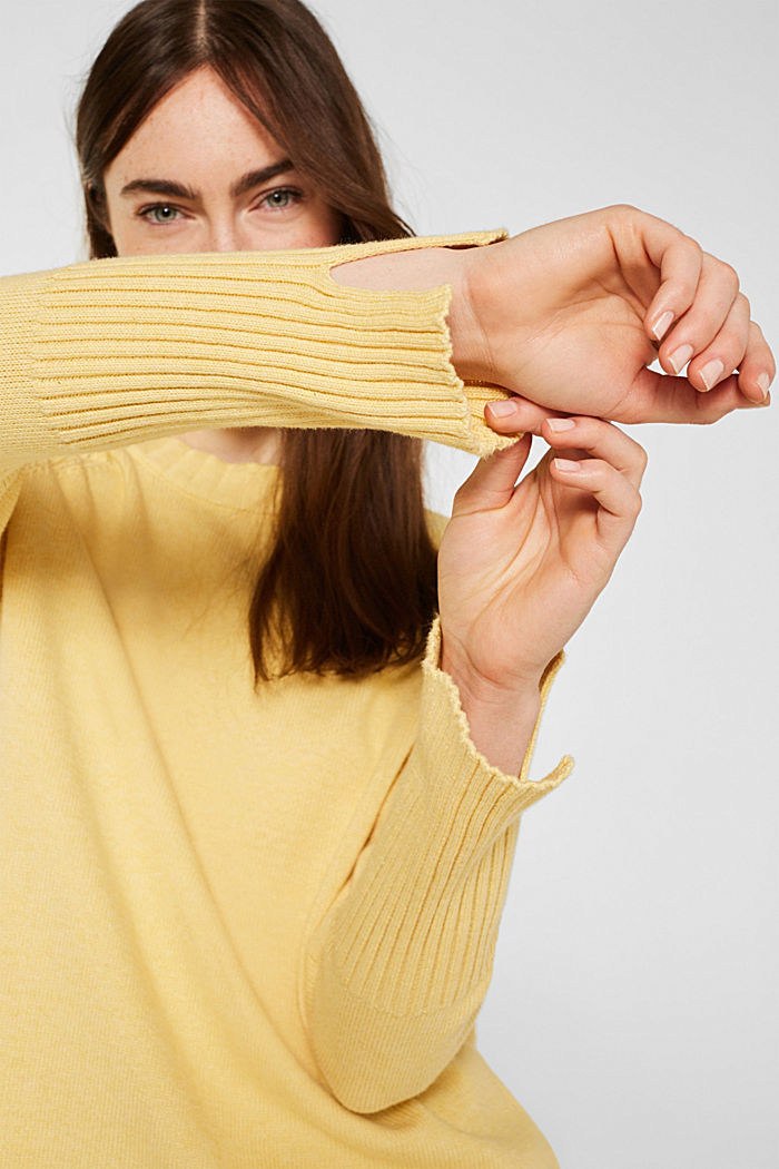 Jumper with ribbed borders, 100% cotton, DUSTY YELLOW, detail image number 5