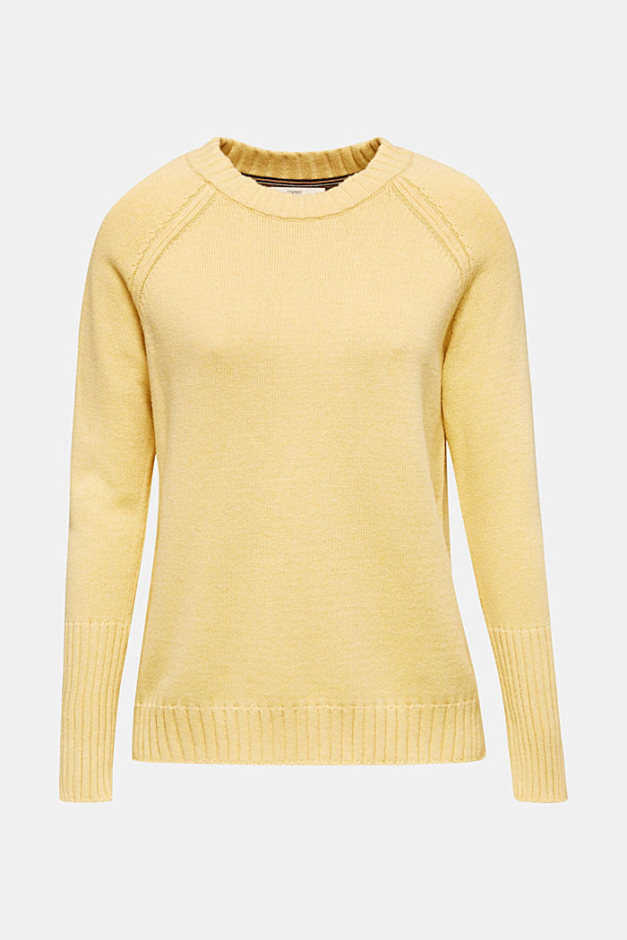 Jumper with ribbed borders, 100% cotton, DUSTY YELLOW, detail image number 6