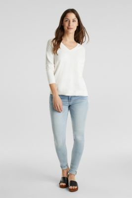 With cashmere: V-neck jumper, OFF WHITE, detail