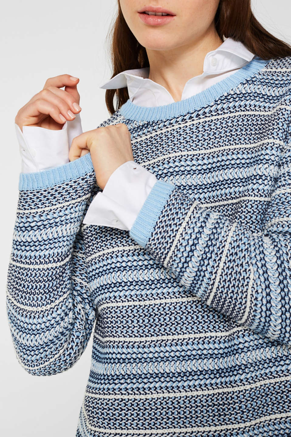 Textured multi-colour jumper, LIGHT BLUE 2, detail image number 2
