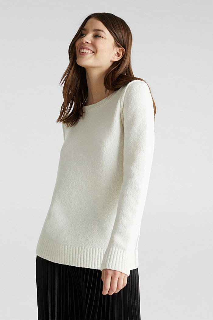 Comfy and stretchy bouclé jumper, OFF WHITE, detail image number 0