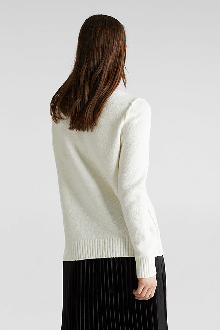 Comfy and stretchy bouclé jumper, OFF WHITE, detail image number 3
