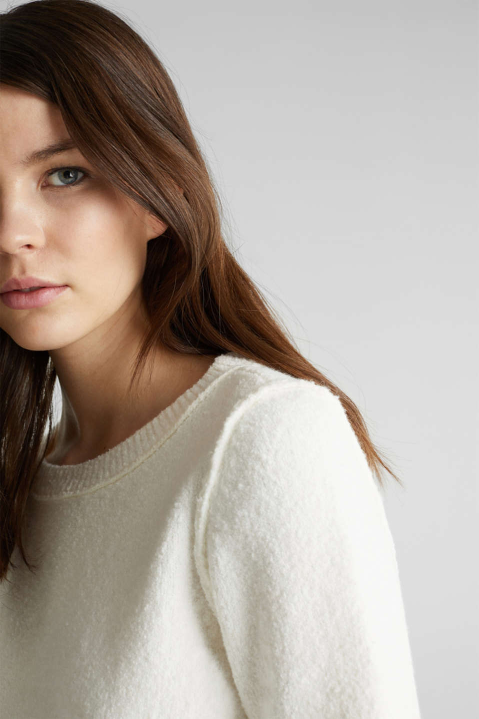 Comfy and stretchy bouclé jumper, OFF WHITE, detail image number 6