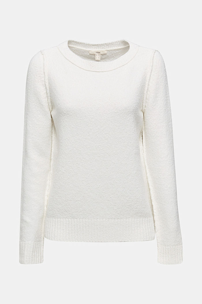 Comfy and stretchy bouclé jumper, OFF WHITE, detail image number 7
