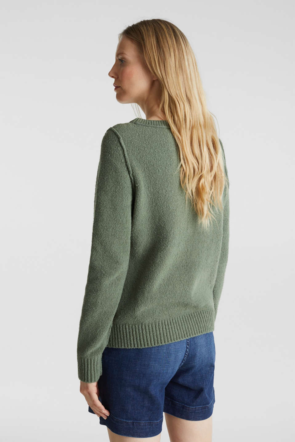 Comfy and stretchy bouclé jumper, KHAKI GREEN, detail image number 3