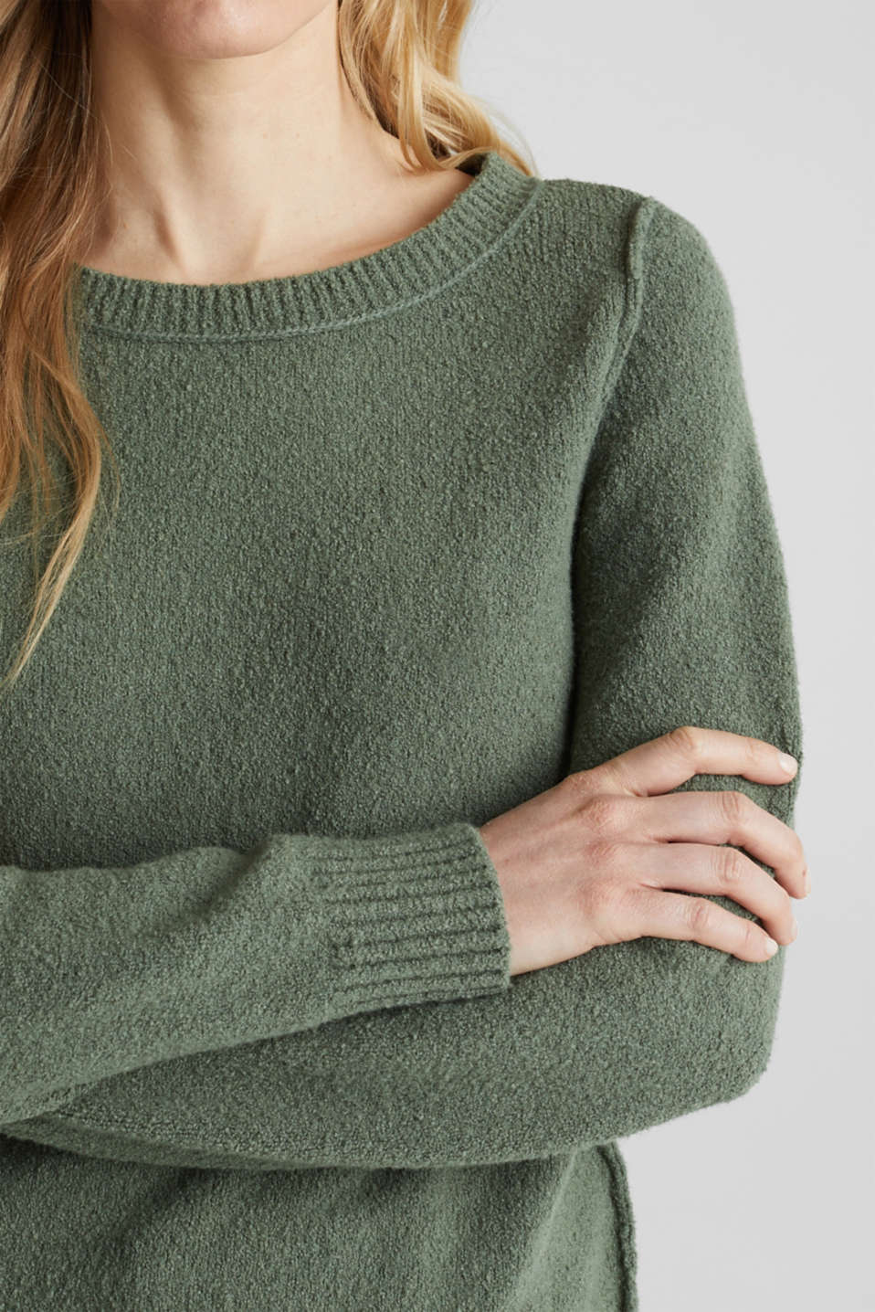Comfy and stretchy bouclé jumper, KHAKI GREEN, detail image number 2