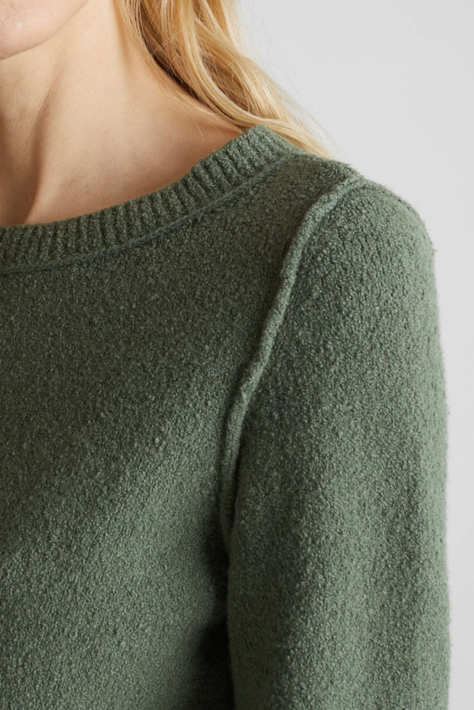 Comfy and stretchy bouclé jumper, KHAKI GREEN, detail image number 5