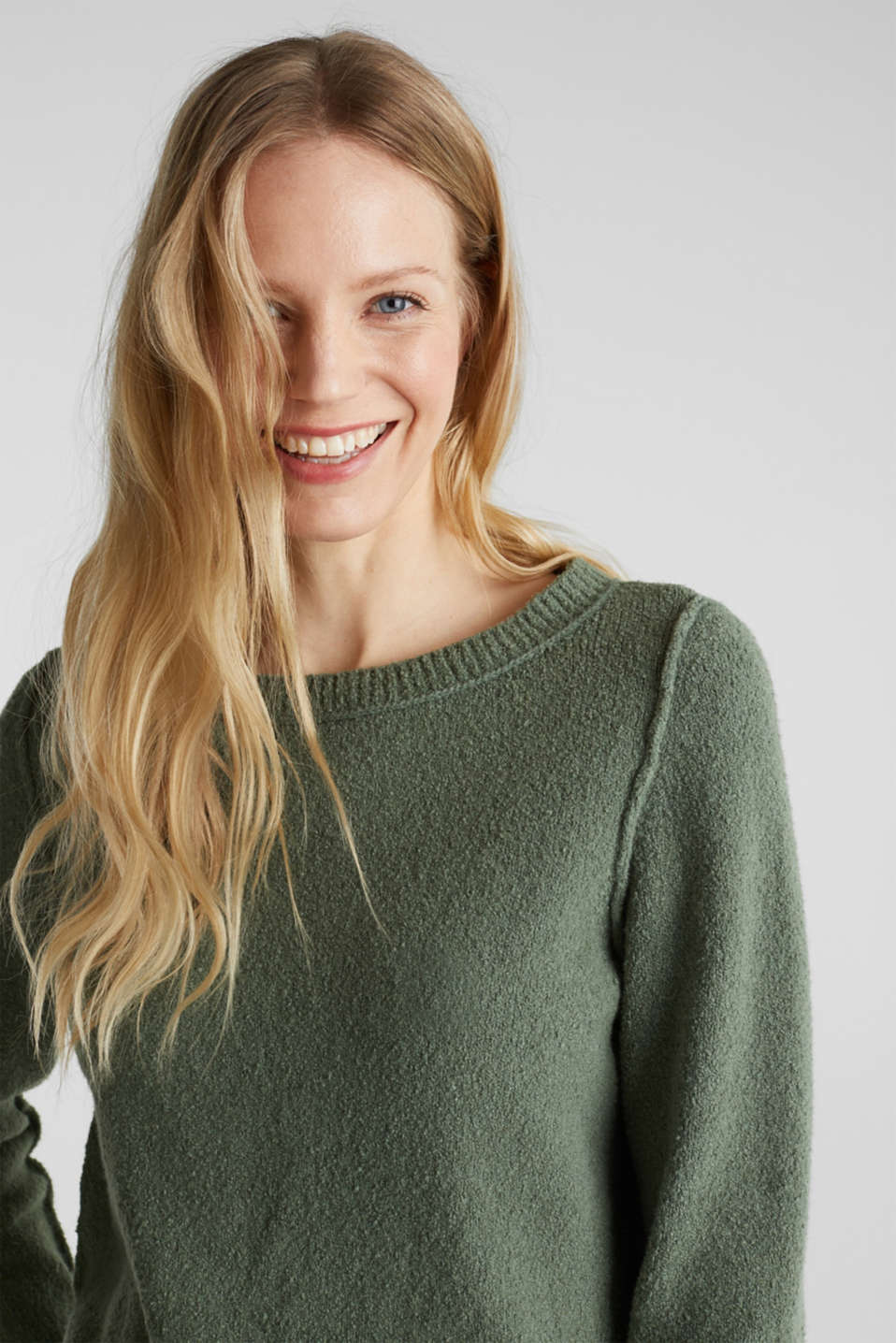 Comfy and stretchy bouclé jumper, KHAKI GREEN, detail image number 6