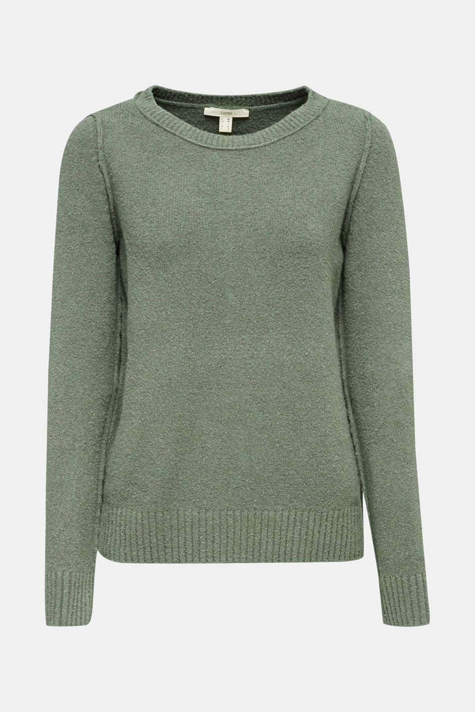 Comfy and stretchy bouclé jumper, KHAKI GREEN, detail image number 7
