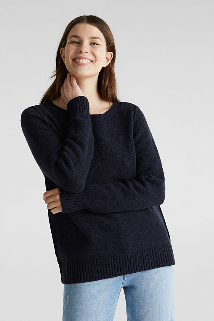 Comfy and stretchy bouclé jumper, NAVY, detail image number 0